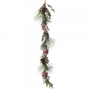 Χιονισμένη χριστουγεννιάτικη γιρλάντα με κουκουνάρια και κόκκινα berries 150 εκ