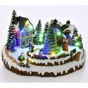 Χριστουγεννιάτικο φωτιζόμενο χιονισμένο χωριό με μουσική και κίνηση 26x21x15 εκ