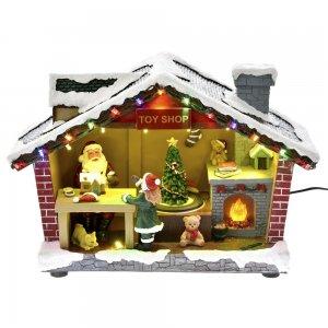 Χριστουγεννιάτικο διακοσμητικό εργαστήρι Άι Βασίλη με μουσική 35x14x23 εκ