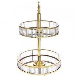 Πιατέλα διόροφη σερβιρίσματος σε χρυσή απόχρωση με μεταλλικές και γυάλινες λεπτομέρειες 35x35x50 εκ