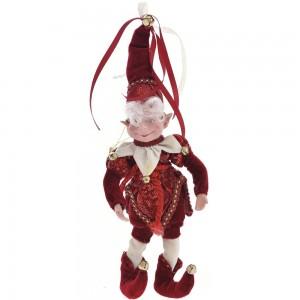 Μπορντό ξωτικό Χριστουγέννων με βελούδινη ενδυμασία 30 εκ