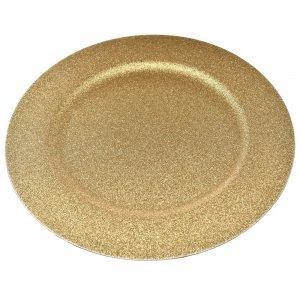 Χρυσός δίσκος σερβιρίσματος σε στρογγυλό σχήμα με χρυσόσκονη σετ τεσσάρων τεμαχίων 33 εκ