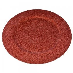 Κόκκινος δίσκος σερβιρίσματος σε στρογγυλό σχήμα με χρυσόσκονη σετ τεσσάρων τεμαχίων 33 εκ