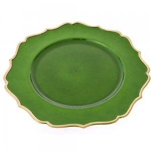 Δίσκος σερβιρίσματος και διακόσμησης σε πράσινο χρώμα με χρυσό περίγραμμα από γείσο σετ τεσσάρων τεμαχίων 33 εκ