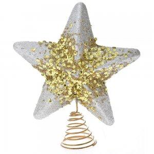 Ασημί χριστουγεννιάτικο αστέρι κορυφή δέντρου με χρυσές πούλιες 20 εκ