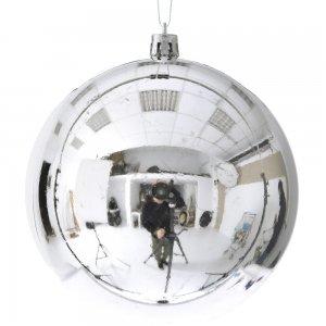 Ασημί χριστουγεννιάτικη μπάλα από συνθετικό PP σετ 16 τεμαχίων 10 εκ