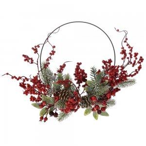 Χριστουγεννιάτικο μεταλλικό στεφάνι με κόκκινους καρπούς 30 εκ