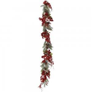 Χριστουγεννιάτικη γιρλάντα με κόκκινους καρπούς 150 εκ