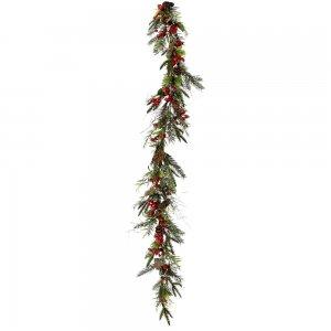 Χριστουγεννιάτικη διακοσμητική γιρλάντα με κόκκινα berries ρόδια και κουκουνάρια 150 εκ
