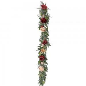 Χριστουγεννιάτικη διακοσμητική γιρλάντα στολισμού με χιονισμένα τριαντάφυλλα 150 εκ