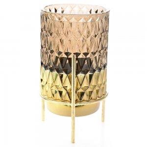 Retro κηροπήγιο από γυαλί σε καφέ απόχρωση με χρυσή βάση σετ δύο τεμαχίων 8x17 εκ