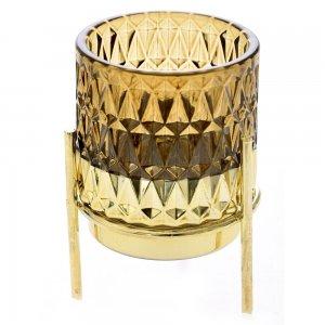 Retro γυάλινο κηροπήγιο σε καφέ απόχρωση με χρυσή βάση σετ των τεσσάρων 7x10 εκ