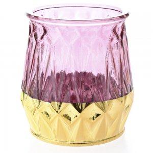 Δίχρωμο γυάλινο κηροπήγιο ρε ροζ και χρυσή απόχρωση σετ των τεσσάρων 13x14 εκ
