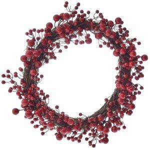 Κόκκινο χριστουγεννιάτικο στεφάνι από berries 55 εκ