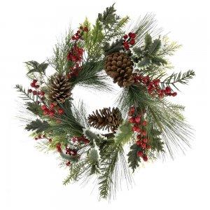 Χριστουγεννιάτικο διακοσμητικό στεφάνι με γκι κουκουνάρια και κόκκινα berries 55 εκ