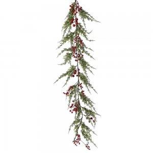 Χριστουγεννιάτικη γιρλάντα στολισμού με κόκκινα χιονισμένα berries 150 εκ