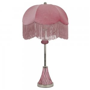 Επιτραπέζιο γυάλινο λαμπατέρ σε ροζ χρώμα 41x66 εκ