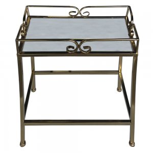 Τετράγωνο μεταλλικό τραπέζι καθρέφτης σε χρυσό χρώμ