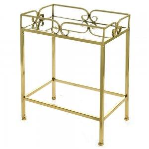 Μεταλλικό τραπεζάκι σαλονιού με καθρέπτη σε χρυ&sig