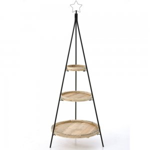 Μεταλλική μαύρη βάση με τρία ξύλινα επίπεδα σε φυσική απόχρωση ξύλου 57x158 εκ