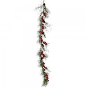 Χριστουγεννιάτικη γιρλάντα με κόκκινους καρπούς σετ των δύο 180 εκ