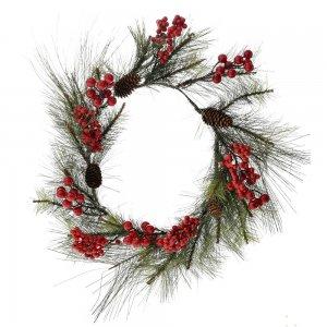 Χριστουγεννιάτικο στεφάνι πεύκο με κόκκινους καρπούς 60 εκ