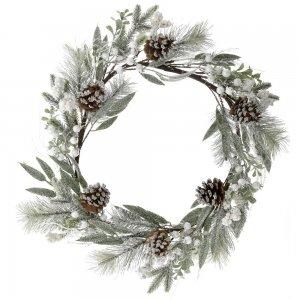 Χριστουγεννιάτικο στεφάνι χιονισμένο με κουκουνάρια 55 εκ