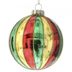 Γυάλινη πολύχρωμη χριστουγεννιάτικη μπάλα σετ δώδεκα τεμαχίων 8 εκ
