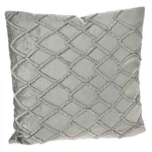 Βελούδινο γκρι μαξιλάρι με χάντρες 45x45 εκ