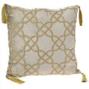 Διακοσμητικό κρεμ μαξιλάρι από βελούδο με φούντε&sigm