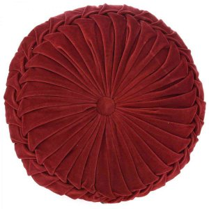 Κόκκινο μαξιλάρι από βελούδο στρογγυλό 45 εκ
