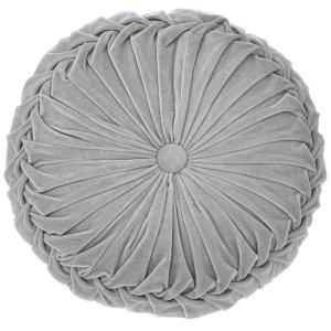 Στρογγυλό γκρι μαξιλάρι από βελούδο 45 εκ