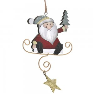 Άγιος Βασίλης κρεμαστός από ξύλο και μέταλλο σετ έξι τεμαχίων 9x17 εκ