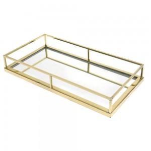 Χρυσός δίσκος με καθρέπτη 36x19x5 εκ