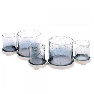 Βάση για κεριά πέντε θέσεων από γυαλί και μέταλλο 40x17x12 εκ
