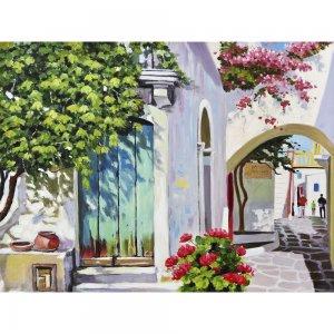 Πίνακας ζωγραφικής με μεσογειακό τοπίο με χρυσή κορνίζα 122x92 εκ