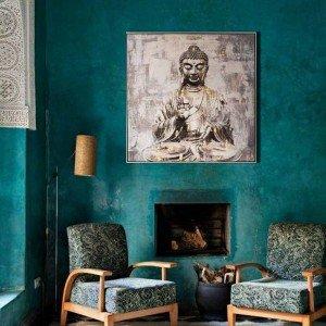 Πίνακας με καθιστό Βούδα σε ασημί κορνίζα 102x102 εκ