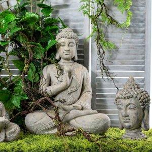 Διακοσμητικό κεφάλι Βούδα σε γκρι χρώμα από πολυρέζιν 19x19x36 εκ