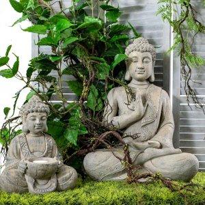 Βούδας διακοσμητικός καθιστός γκρι από πολυρέζιν 31x25x38 εκ