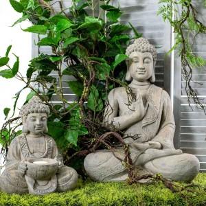 Βούδας διακοσμητικός σε γκρι χρώμα από πολυρέζιν 50x31x65 εκ