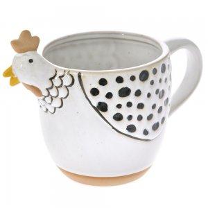Κεραμική κούπα σε λευκό χρώμα με σχέδιο κότας σε σετ των δύο τεμαχίων 18x11x13 εκ