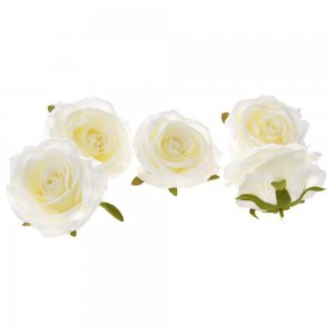 Διακοσμητικά άνθη τριαντάφυλλου σε λευκό χρώμα σετ των εικοσιτεσσάρων τεμαχίων 9 εκ