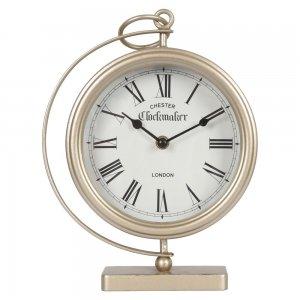 Επιτραπέζιο ρολόι από μέταλλο σε χρυσή απόχρωση 21x7x27 εκ