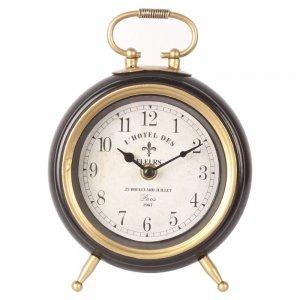Vintage μεταλλικό επιτραπέζιο ρολόι σε μαύρο και χρυσό χρώμα 16x5x22 εκ