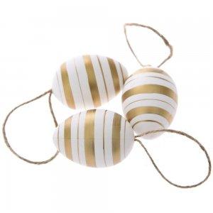 Πασχαλινά διακοσμητικά αυγά λευκά με χρυσές ρίγες σετ των δεκαοχτώ τεμαχίων 4x6 εκ