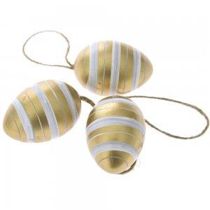 Πασχαλινά διακοσμητικά αυγά χρυσά με λευκές ρίγες σετ των δεκαοχτώ τεμαχίων 4x6 εκ