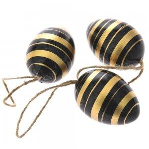 Πασχαλινά διακοσμητικά αυγά μαύρα με χρυσές ρίγες σετ των δεκαοχτώ τεμαχίων 4x6 εκ