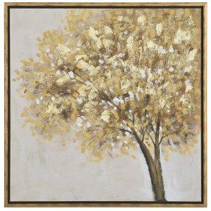 Πίνακας με κορνίζα και θέμα καφέ δέντρο 85x85 εκ