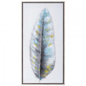 Πίνακας με γκρι χρυσό φτερό και κορνίζα 125x65 εκ