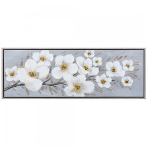 Διακοσμητικός πίνακας με κρεμ λουλούδια σε κορνίζα 155x55 εκ